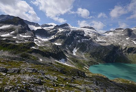 view on high altitude mountains in lake in the Hohe Tauern in Carinthia