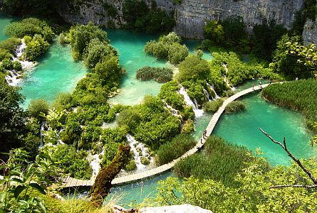 Crystal clear lakes in Plitvice in Croatia
