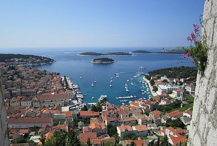 View on harbour in coastal settlement in Croatia