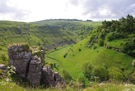 valley and rocky outgrops in the Derbyshire Dales