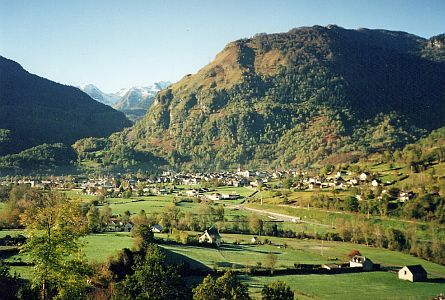 view on beautiful village in a valley in the french pyrenees