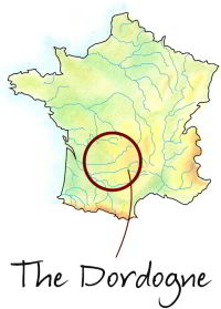 Map showing the Dordogne within France