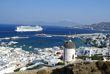 View on harbour withe whitewashed houses on Mykonos island