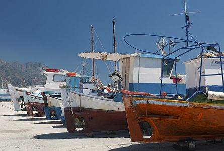 colourful fishing boats on the island Kos