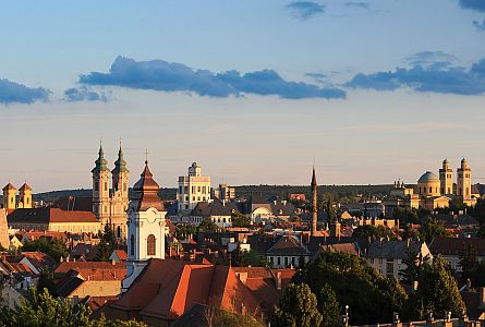 A bird's eye view of beautiful town of Eger, Hungary
