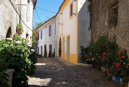Picturesque street in small settlement in Alentejo in Portugal