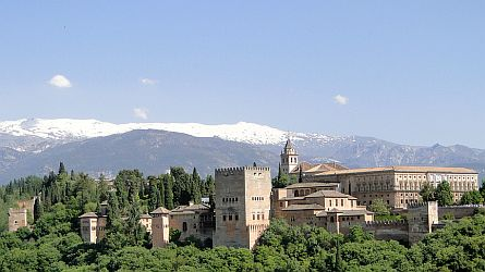 Alhambra with the Sierra Nevada in the background.