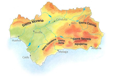 Map Of Spain With Mountains.Walking Holidays In Andalucia A Beautiful Area In Spain