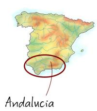 Map showing Andalucia in Spain