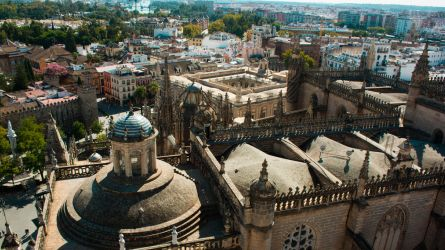 Wide view onto the inner city of Seville in Spain.