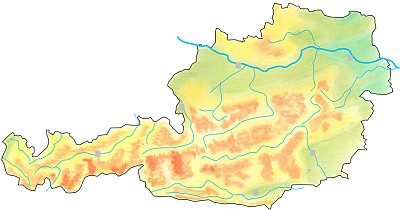 Handdrawn geographical map of Austria.