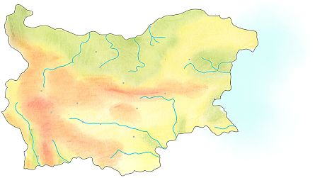 Handdrawn geographical map of Bulgaria.