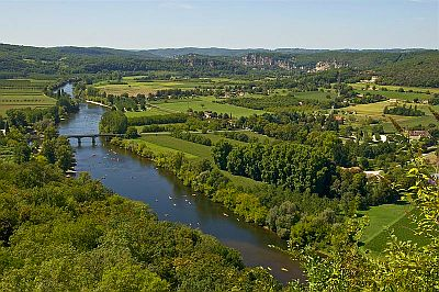 View on mosaic of fields and river valley in the Dordogne.