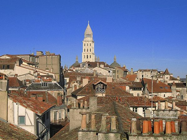 View on cathedral over rooftops in the Dordogne capital Perigueux