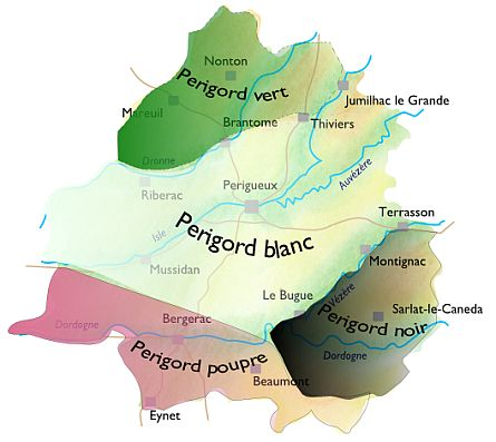 Dordogne regions map