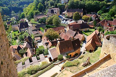 View from high point on scenic Dordogne village.