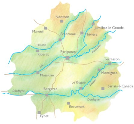 Handdrawn geographical map of Dordogne for exploring.