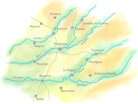 Handdrawn geographical map of Dordogne with walking holidays.