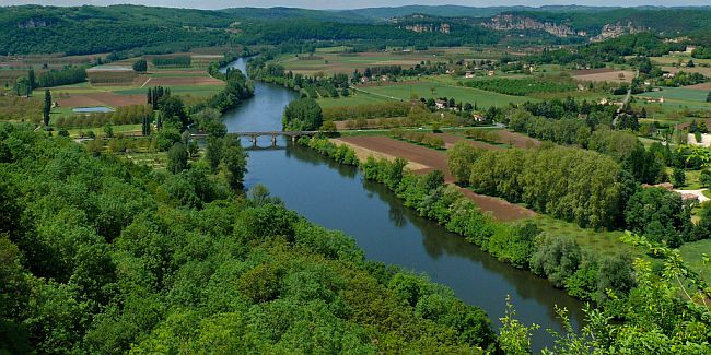 Rural landscape with a river in the Dordogne.