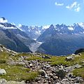 Snowcapped mountains under a blue sky. The alps in the south east of France (original image by Gnomefilliere - see http://en.wikipedia.org/wiki/File:MassifMontBlanc7438.JPG).