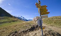 Waymarker in the French Alps.