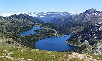 View onto two mountain lakes in the French Pyrenees.