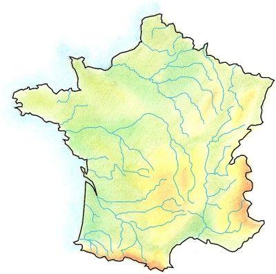 Handdrawn geographical map of France.