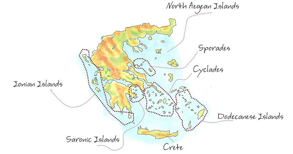 Map of the islands groups in Greece, showing the Cyclades, Sporades, Saronic, North Aegean and Dodecanese island groups. Map by WalkingHolidayInfo.