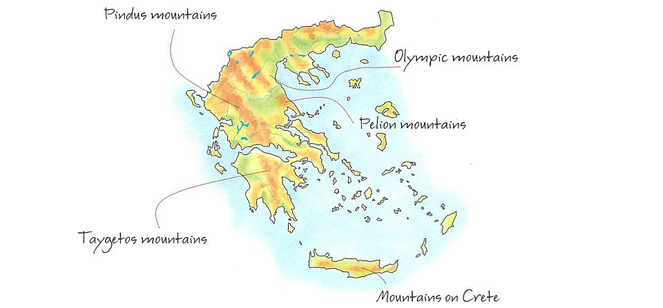 Hand-drawn relief map showing the mountain ranges of Greece.