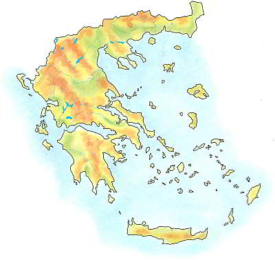 Handdrawn geographical map of Greece.