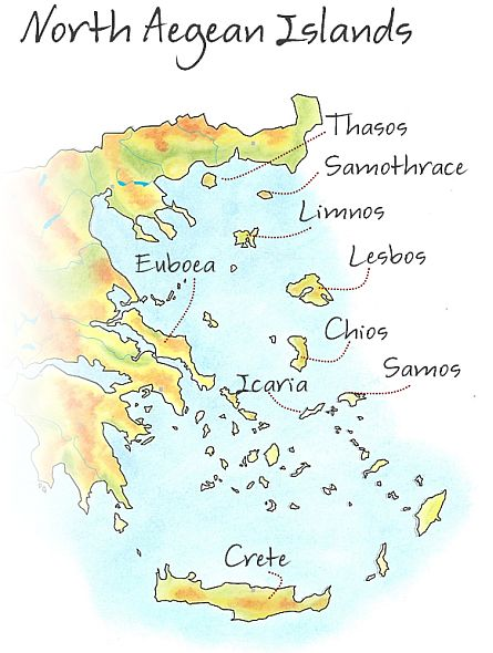 Map of the islands groups in the Aegean Sea, showing the Cyclades, Sporades, Saronic, North Aegean and Dodecanese island groups.