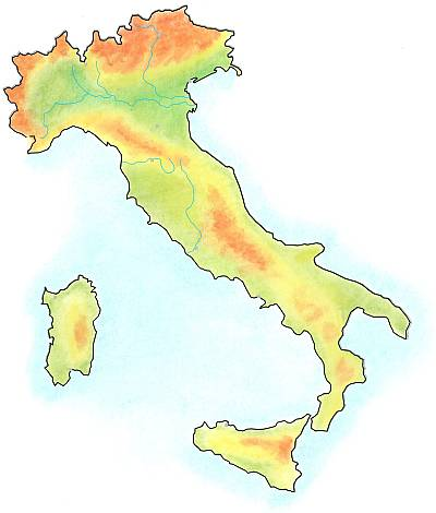 Handdrawn geographical map of Italy.