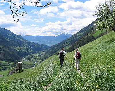 Two people walking on a trail in the italian alps in a lush green spring landscape.