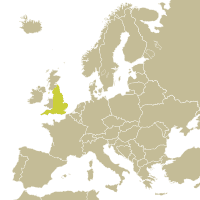Map of England in Europe