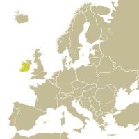 Map of Ireland in Europe