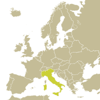 Map of Italy in Europe