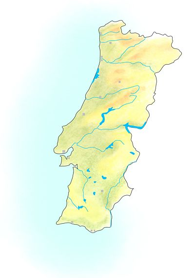 Handdrawn geographical map of Portugal.