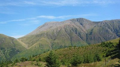 View on Ben Nevis in Scotland from the south. Original photo http://commons.wikimedia.org/wiki/File:Ben_Nevis_-_geograph.org.uk_-_22231.jpg.
