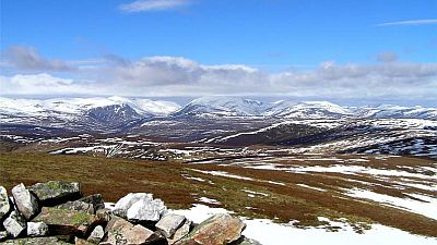 View on partly snowy landscape of the Cairngorms mountains in Scotland. Original photo by Joe Dorward  (see  http://commons.wikimedia.org/wiki/File:The_Cairngorms_-_geograph.org.uk_-_1766434.jpg)