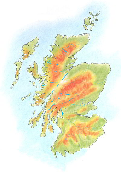 Handdrawn geographical map of Scotland.