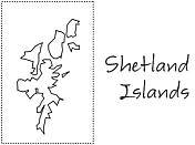 Outline of the Shetland Islands North of Scotland.