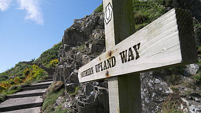 View on the first wooden sign of the Southern Upland way near some steps along the coast. Original photo http://commons.wikimedia.org/wiki/File:Portpatrick_start_of_southern_upland_way.JPG