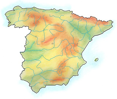 Handdrawn geographical map of Spain.