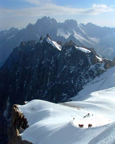 Group of walkers climbing up Mont Blanc in the French Alps. Original photo by Kay Clay (see http://www.flickr.com/photos/katclay/3778633831)