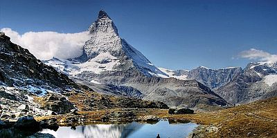 Matterhorn reflected in a high mountain lake in Europe.