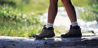 Foot in walking boot.