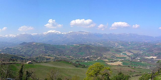 Mount Sibilla with the chain of Sibillini Mountains in the Central Apennines