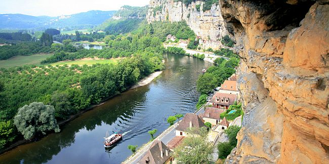The river Dordogne seen from pre-historic cliff-face dwellings.
