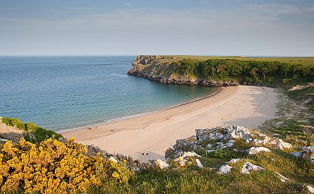 View on sandy beach in Pembrokeshire