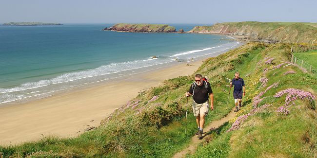 walkers enjoying the Pembrokeshire coastal trails